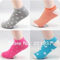 Min. Order is $8 Free Shipping 12Pair/Lot Fashion Color Dots Female Sports Socks Lovely Suitable for Breathable Socks Wholesale