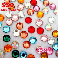 Mixed Colors ! SS6 1.9-2.0mm 1440pcs/Bag DMC HotFix FlatBack Rhinestones Hot Fix iron-on Garment Crystal Stones
