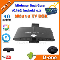 2013 Newest Arrival !!!!MK818 RK 3066 DualCore  Smart TV Box Dual Core webcame Cortex A9 1G DDR 8G Flash with  Remote Control