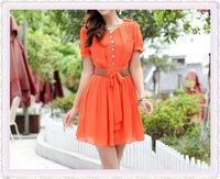 2013 Summer New women Belt Fashion Chiffon Dress High Quality Women Dresses Lady's Apparel Short Sleeve Dress + Free Shipping