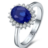 Natural sapphire 1.5 CT Round cut sterling silver engagement ring 18k white gold plated synthetic gemstone blue Wholesale ring