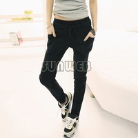 New Women's Pure Color Pants Long Loose Casual elastic waist Small Leg Opening Trouser Harem Pants 3 Colors #005 17576