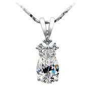 2.0ct Luxury Quality silver 14K gold plated synthetic diamond pendant for women Luxury synthetic diamond Pendant necklace