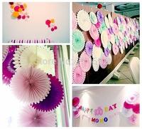 25cm Lot of 20  Wholesale/Retail Paper Fan Tissue Paper Fan Paper Crafts Assorted Colors Party Wedding Home Decorations