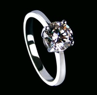 Luxury quality 1ct Ball cut ring sterling silver white gold Plated SONA synthetic diamond ring women promise love Wedding ring