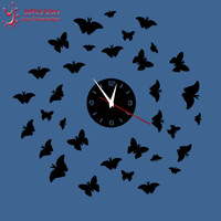 33Pcs Mirror Butterfly Wall Art Clock Decal 2014 New Modern Design DIY Wall Watch Home Decoration Novelty Clocks Safe Home Decor