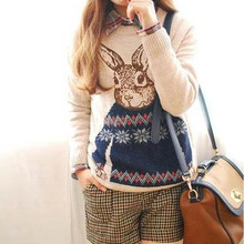 Free Shipping 2013 New Fashion Tops Sale Yong Women Cartoon Rabbit Vintage Sweater ,Loose Pullover  Light Coffee/Gray  WZM102(China (Mainland))