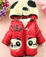 Latest 2013 baby girl cartoon panda outwear kids panda pattern hoodies cotton-padded baby zipper inside fur coat free shipping