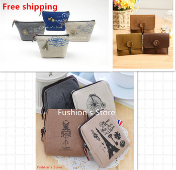 Nostalgic retro canvas  wallet/lovely buckle/women messenger bags/coin purse/ wallets/handbags,2 pcs/lot