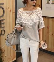 Dropshipping! t shirt women 2015 Sweet blusas femininas Hollow Out Lace Cutout t shirt womens blusas S M L Size