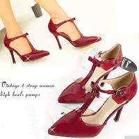 Vintage t strap pointed toe high heels women pumps bowtie brand designer sexy office lady stilettos buckle strap shoes 2015 red