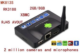 Mdear mk813s) quad-core Android TV box  MINI PC 2 million camera dual microphone, bluetooth 2gb +8gb  XBMC Free shipping