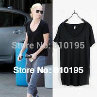 High quality street women short v-neck casual tshirt,blank tshirts,lady tops clothes