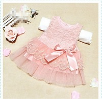 New 2013 baby girls dresses children clothing cotton ball gown dress kids bow lace princess clothes 3colors high quality LF852