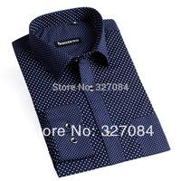 man spring 2015 Fashion Polka Dot Shirts Dress shirt For Men Blue Long Sleeve 100% Cotton size xxxl Free Shipping YH06
