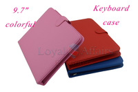 "Multi-color 9.7inch USB keyboard Leather Case cover for 9.7"" Android Tablet  PC  English or russian keyboard for choose"