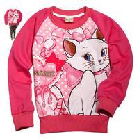 Retail ashion design free shipping  kids wear clothing cartoon marie 2013 new long sleeve T-shirts for baby girls