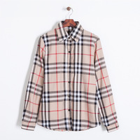 Women fashion cotton blend plaids prints 2 color turn-down collar full sleeves blouse button closure regular shirts 212210