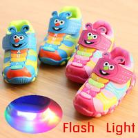 21-25 Size flash LED light shoes children boys girls kid Sports running sneaker shoes baby girl cute Cartoon pink/blue