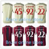 KaKa Balotelli El Shaarawy Jersey New 14 15 AC milan Soccer Jersey Top Thai Quality Home Away Jersey