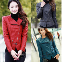 2014 Woman PU Leather Jacket  motorcycle Bomber Jaqueta couro Long Sleeves Zipper Slim  Leather Jackets lady Free Shipping