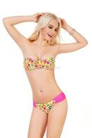 2014 Dropshipping! Padded Floral Bikini Bandage Underwire Victoria Swimsuits Women Swimwear Set Retro Bathing Suit 1312