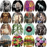 New 2014 Autumn Women&Men Sportswear High Print Galaxy Hoodies Pullovers Tiger/Cat Animal 3D Sport Sweatshirt Sexy Sweaters Tops