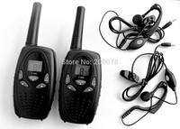 2pc long range radio PMR talkie walkie pair cb radios with 121 private code two way radios +2 earphones (black) + freeshipping