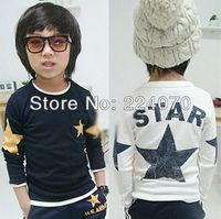 Free shipping autumn and winter star kids baby boy long sleeve t shirt children fashion tees t shirt