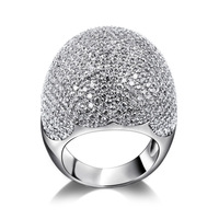 Latest Designs Dome Shape Micro Pave Setting Clear White Color AAA+ CZ High Quality 18K Platinum Plating Bridal Finger Ring