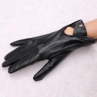 Hot Selling 2014 Fashion Women's Hollow Out Button Sheepskin Gloves Winter Warm Black Plus Velvet Genuine Leather Gloves Women