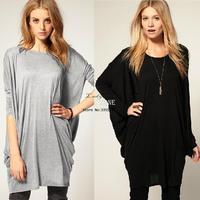 Hot Sale Fashion Trendy Women Batwing Sleeve Loose Long T-shirt Top Gray/Black 18408