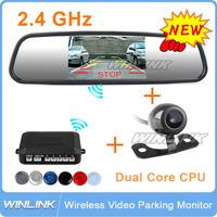 "Free Shipping, 4 in 1, Wireless Parking Assistance Car Parking Radar Sensors/Rear View Camera/4.3"" Mirror Monitor/FM transmitter"