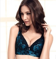 Free Shipping, 2014 four-breasted thin section bra gather adjustable bra brand big yards, embroidery lace bra,