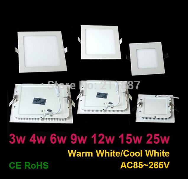 Spedizione gratuita 4/w6w/9w/12w/15w/25w pannello led quadrati plafoniera di illuminazione da incasso caldo/bianco freddo, illuminazione di interni