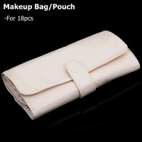 High Quality Makeup Brushes Bag Pouch For 18pcs Brushes Cosmetic Bag Beige/Black Grainy PU Leather Free Shipping