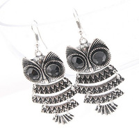 Hot sales fashion  American jewelry personalized retro cute owl temperament Lovely earrings ear clip Support the mixed wholesale