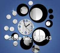 large 3D wall clock mirror, Diy mirrored decorative home decoration clock, black or red round wall clock M212A free shipping