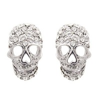 Wholesale Brand New Fashion Silver Crystal Skull Stud Earrings Free Shipping