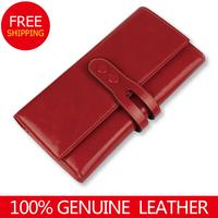 2014NEW women wallets Vintage Genuine Leather Wallet Long Style Waxed Cowhide Purse Organizer Wallets Wholesale & Retail