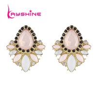 Wholesale Flower Design Stud Earrings Colorful Created Gemstone Pendientes Jewelry Earrings for Women