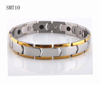 free shipping 2014 new jewelry gold plated power bracelet balance for men Germanium Stainless Steel man charm Bracelets bangles