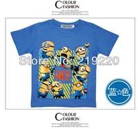 Free shipping blue despicable me minions children boys short t shirt minions kids boy t-shirt costume children's wear t shirt