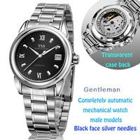 Tss fully-automatic mechanical watch mens watch cutout stainless steel watch waterproof strip luminous