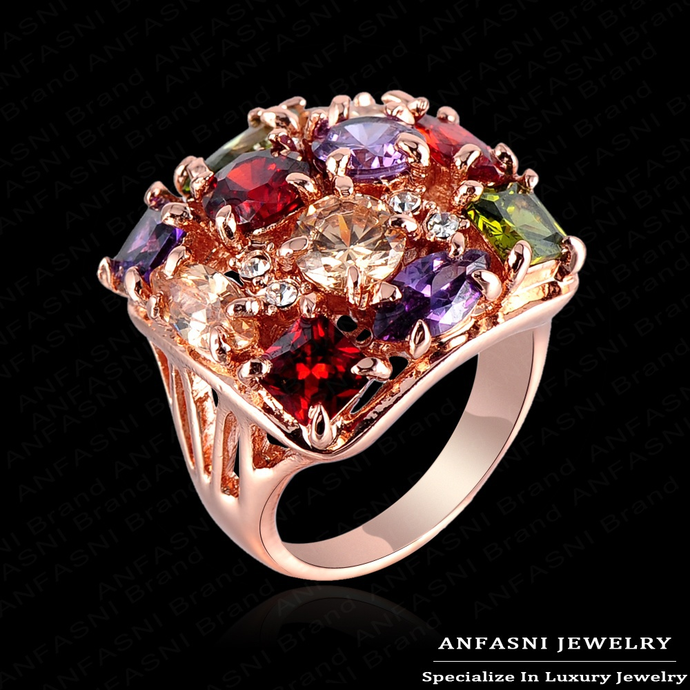 High Quality Multicolor Austrian Crystal SWA Element Engagement Rings With 18K Rose Gold Plate & AAA Zircon Jewelry(China (Mainland))