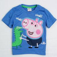 Free shipping Cute Peppa Pig design Children kids Boys Girl T shirt Cotton children clothes t shirt Children kids summer t shirt