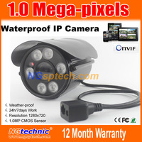 Free shipping 1MP H.264 Network ip Camera 720P Outdoor waterproof 6 Array LEDs IR night vision onvif  iphone Android web browse