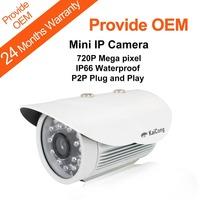 HD MiNi IP Camera P2P Plug and Play 720P Mega Pixel Waterproof IP66 Outdoor Security Camera  With Infrared leds KaiCong Sip1210