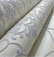 Modern Damask 3D Velvet Wallpaper Flocked  Grey Wallcovering  for Bedding TV Background Wall Roll 10m  Home Decor Soundproofing