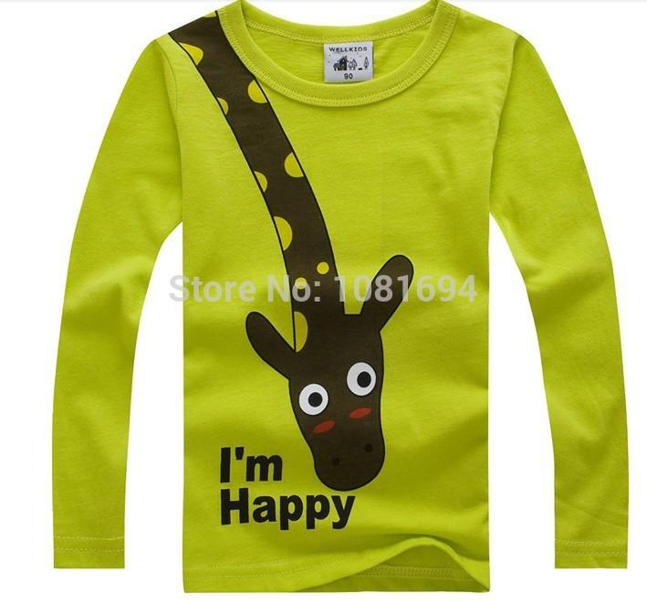 Хлопок дети футболки, длинный рукав t - рубашки, милый жираф комикс футболки,